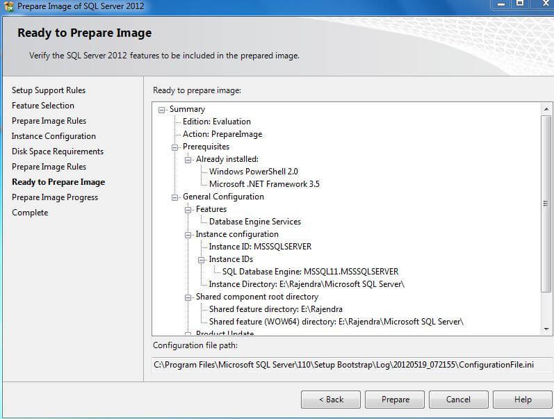 Install SQL Server 2012 Using SysPrep