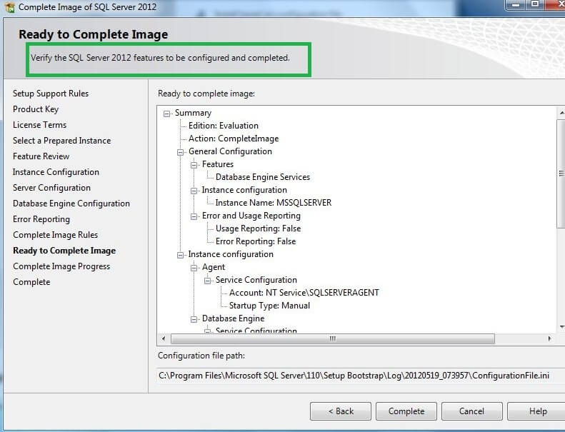 "Click on ""Complete"" to Complete SQL Server installation using sysprep."
