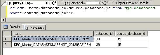 Find all db snapshot information from sys.databases system table