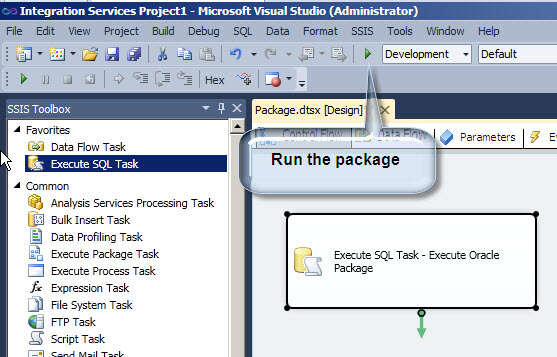 Run an Oracle package from SQL Server Integration Services