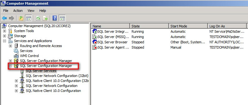 SQL Server Configuration Manager via Computer Management