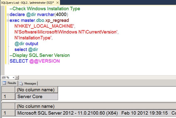 verify the installation on Server Core by using SQL Server Management Studio