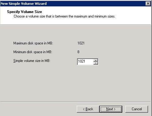 Specify Volume Size dialog box