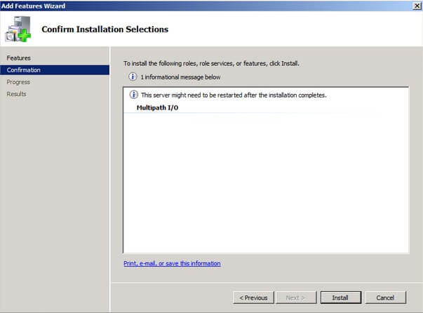 Confirm Installation Selections dialog box