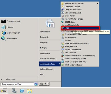 open the Administrative Tools and select MPIO