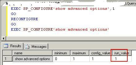 Enable all advanced options in sp_configure