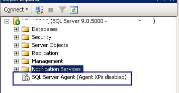 SQL Agent was stopped with Agent XPs disabled