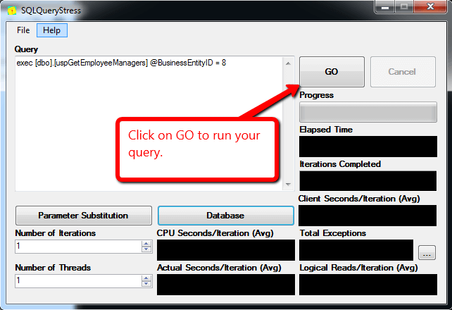 Execute Stored Procedure using SQLQueryStress