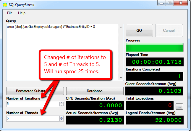 Using SQLQueryStress to add additional stress with multiple threads