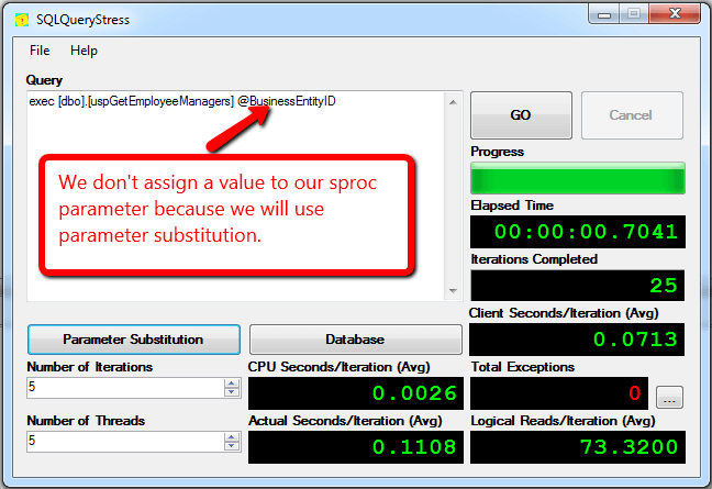 the parameter substitution will be used for the parameter value.