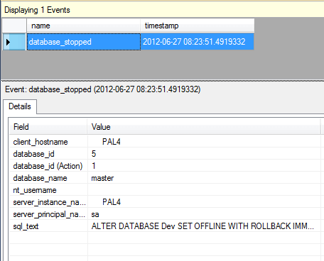 Event data captured when a SQL Server database is set offline in Extended Events