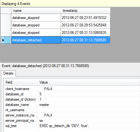 Extended Events when bringing a SQL Server database online and detaching it