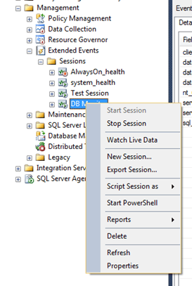 Extended Events options in SQL Server Management Studio