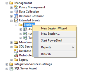 In SQL Server Management Studio, right click on the Sessions folder and you can choose New Session or New Session Wizard.