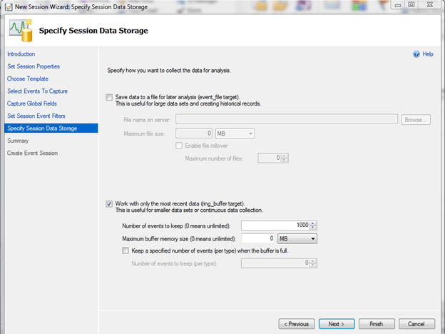 Specify Session Data Storage in SQL Server 2012 Extended Events