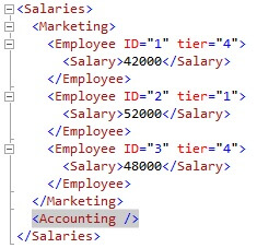 The Accounting node was added inside the Salaries node by simply using the insert...into format.