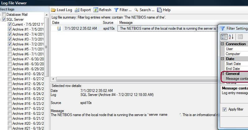 SQL Server Error log with NETBIOS entry