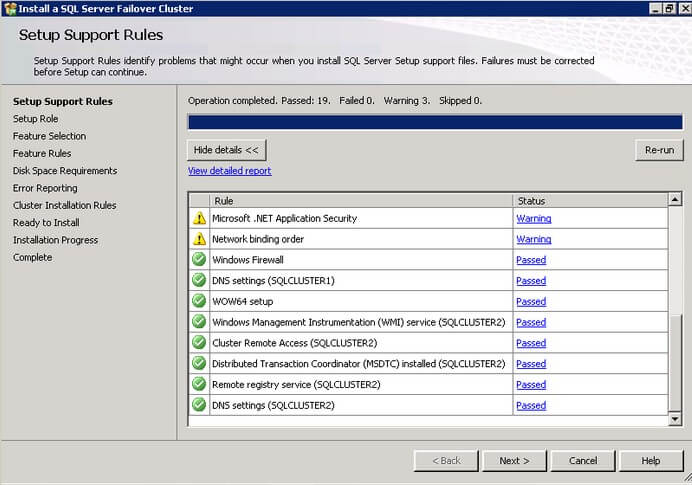The SQL Server 2012 Setup Support Rules dialog box