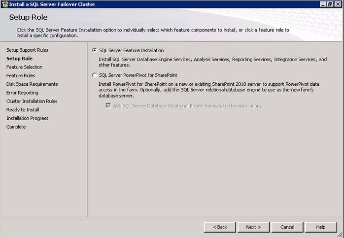 SQL Server Feature Installation options