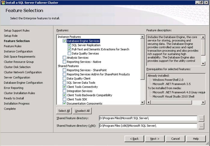 The SQL Server 2012 Feature Selection dialog box