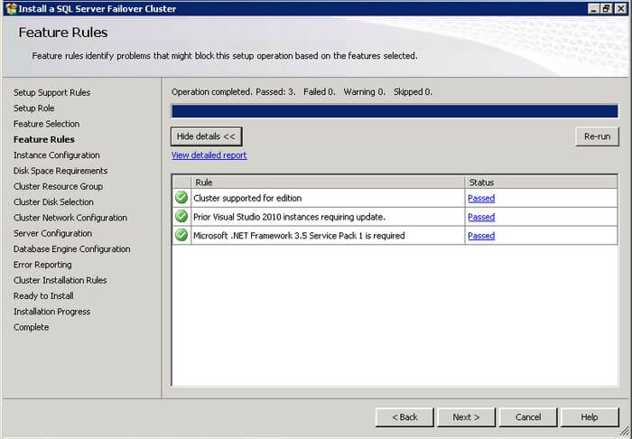 verify that all the rules have passed on the SQL Server 2012 Features Rules dialog box