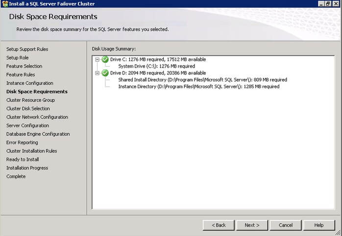 check that you have enough space on your local disks to install the SQL Server 2012 binaries