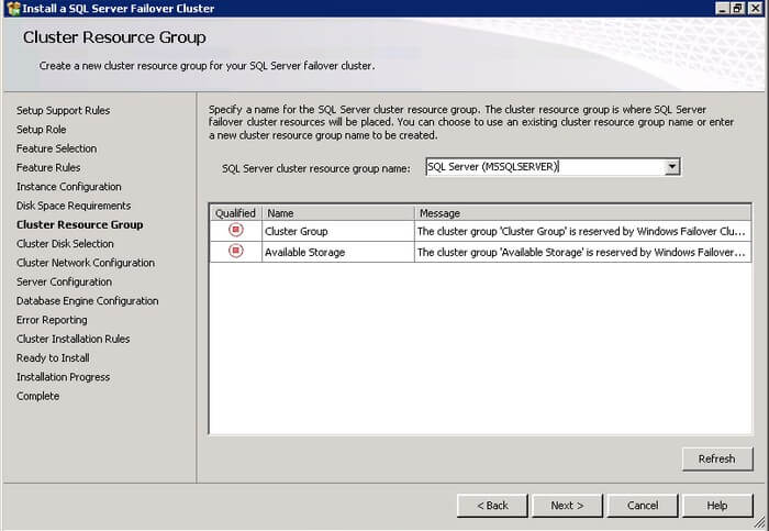 SQL Server 2012  Cluster Resource Group dialog box