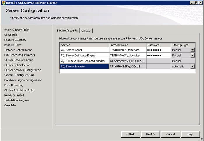 SQL Server 2012 Server Configuration for service accounts and collation