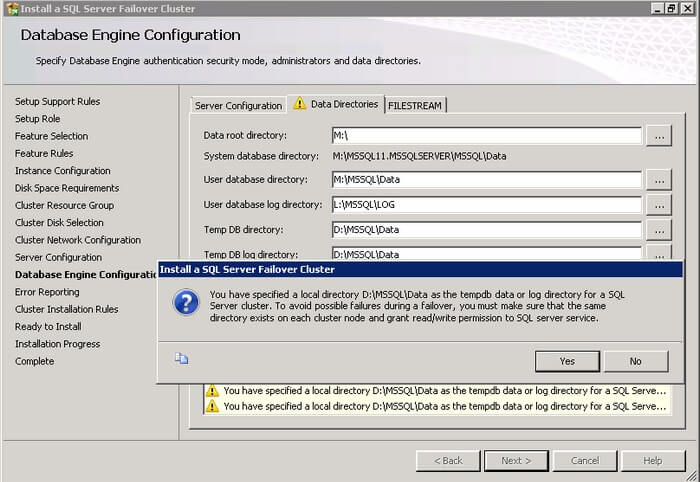 The Database Engine Configuration dialog box includes the data directories for all databases