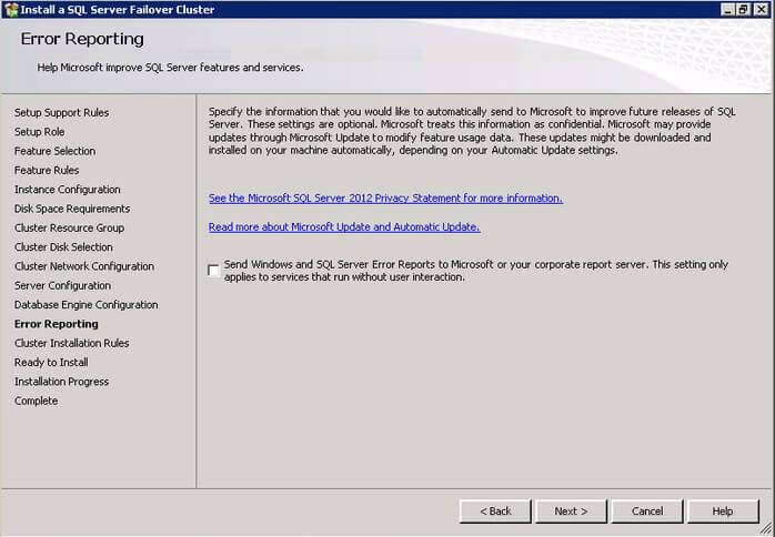 The SQL Server 2012 Error and Usage Reporting dialog box