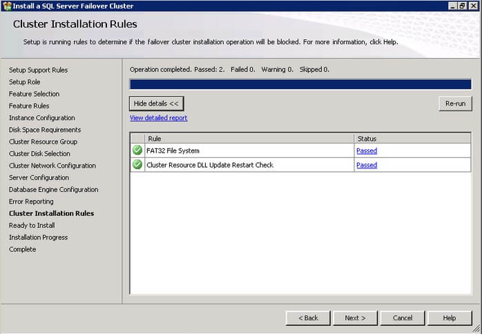 The SQL Server 2012 Cluster Installation Rules dialog box