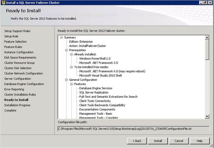 The SQL Server 2012 Ready to Install dialog box