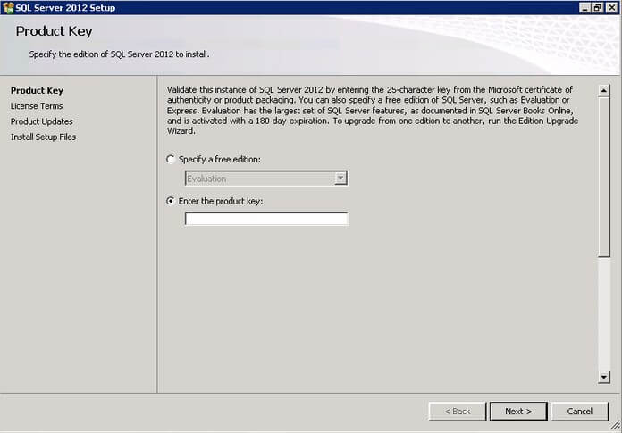 Enter the SQL Server product key