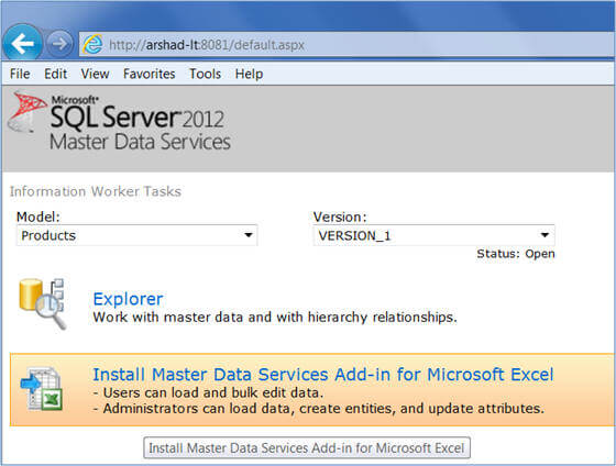 Install Master Data Services (MDS) Add-in for Microsoft Excel