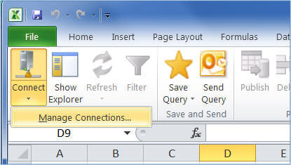Manage Connections menu option on the MDS ribbon in Excel
