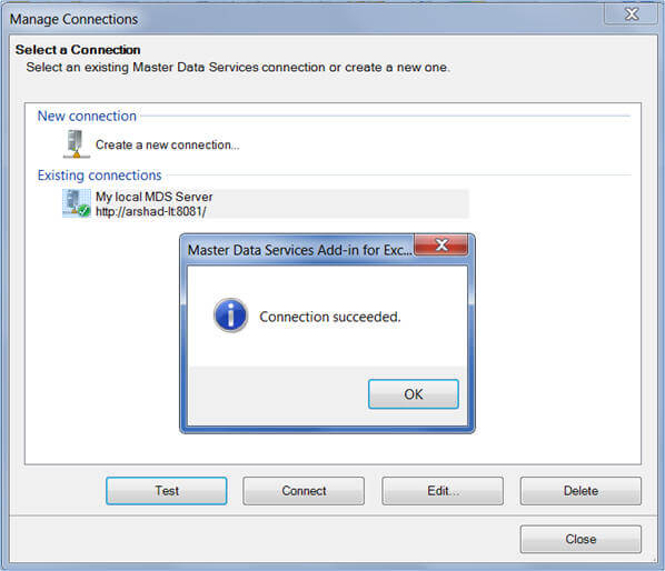 Verify if the existing connection information can be used to connect to MDS Server