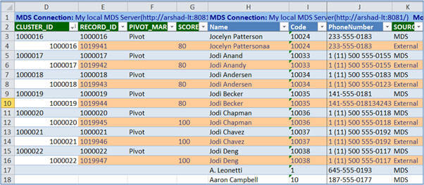 Matching operation by the DQS Server in the MDS Excel Add-in