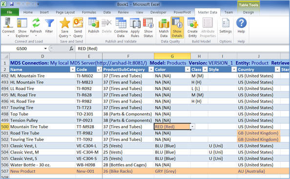 Managing master data with the Excel add-in for Master Data Services
