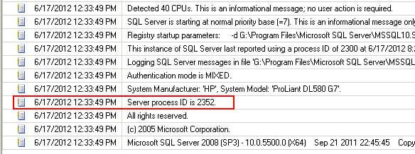 SQL Server error log to determine the PID for the SQL Server processes