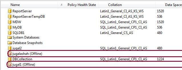 Object Explorer Detail View with databases offline