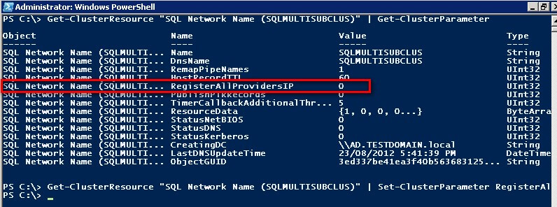 PowerShell code to capture the RegisterAllProvidersIP value