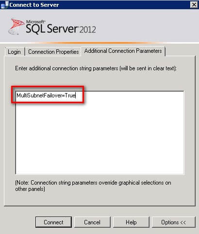 SQL Server Management Studio Additional Connection Parameters to set the MultiSubnetFailover to True