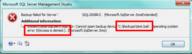 Access is denied error message from SQL Server Management Studio when you do not have permissions to the backup directory