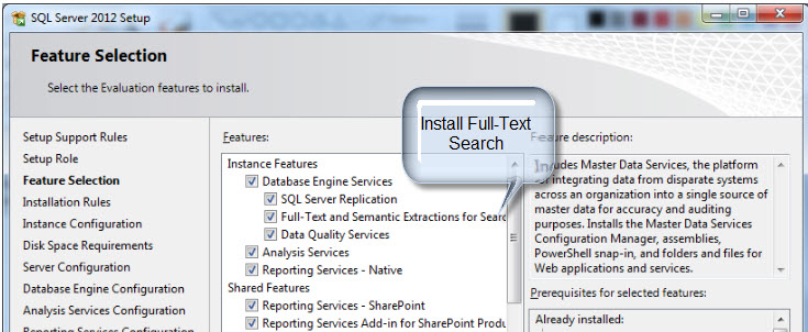 install full text and semantic search