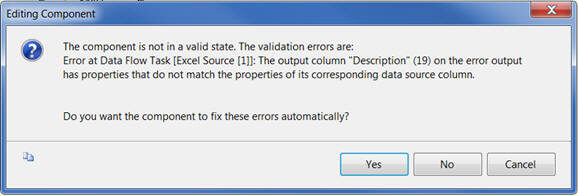 SSIS Editing Component Error indicating the properties do not match for the Description column