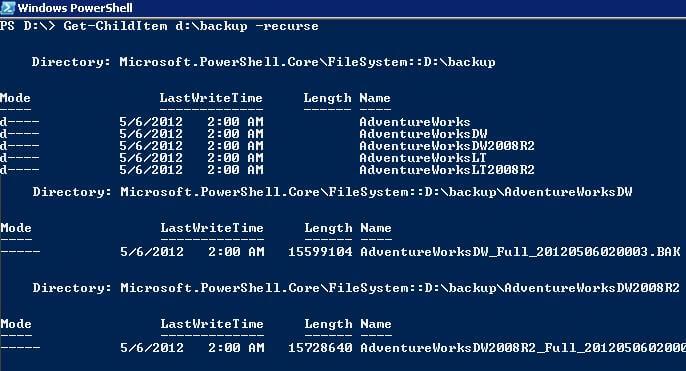 GCI Command Recurse Output