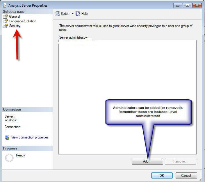 Configuring permissions for SQL Server Analysis Services