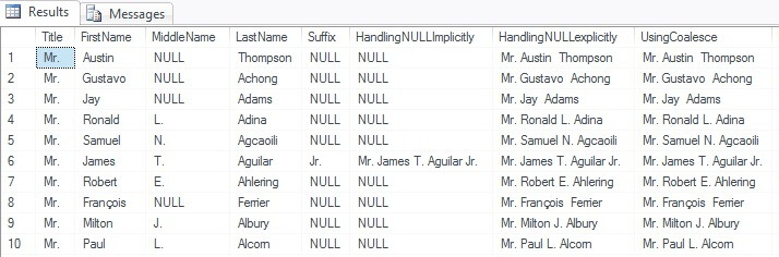 SQL Server 2012 Concatenation of NULL values