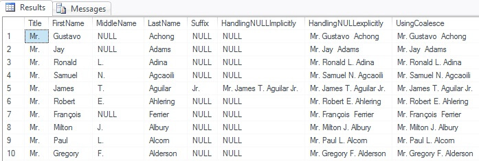 Concatating with NULL values in SQL Server
