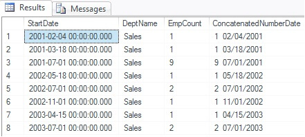 Concatenating Numbers and Dates in SQL Server